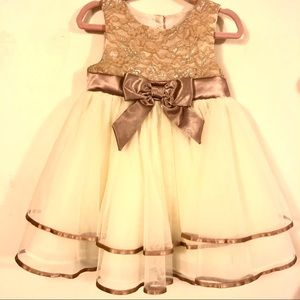 Rare Editions Champagne Lace Dress